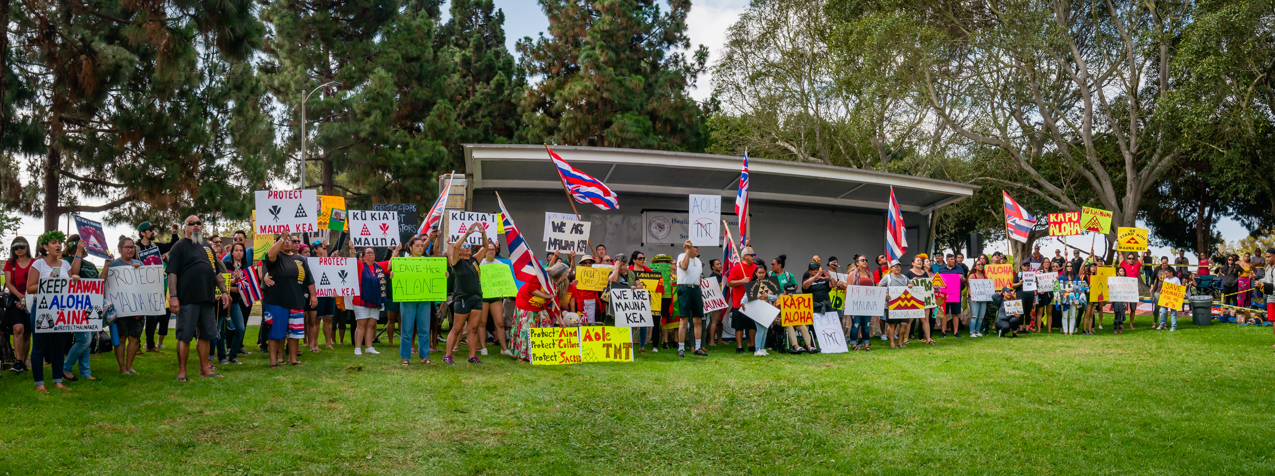 mauna kea protectors gather at Alondra Park in Los Angeles on July 20